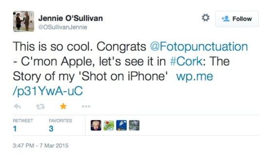 Tweet from Jennie O Sullivan